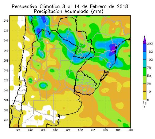 Perspectiva Agroclimática da Argentina 8-14 Fevereiro - Chuvas