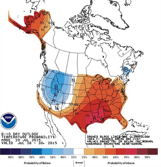 Temperaturas nos EUA entre os dias 26 a 30 de julho - Fonte: NOAA