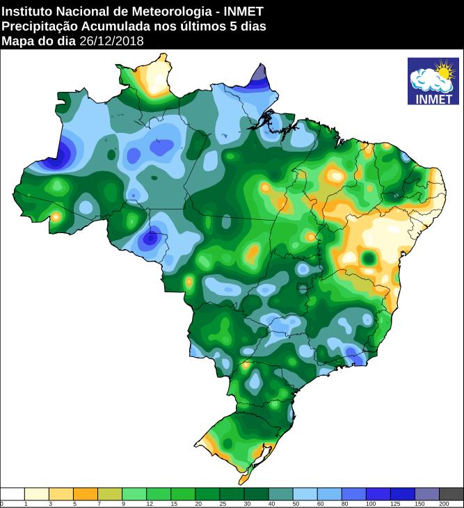Mapa de precipitação acumulada nos últimos 5 dias em todo o Brasil - Fonte: Inmet