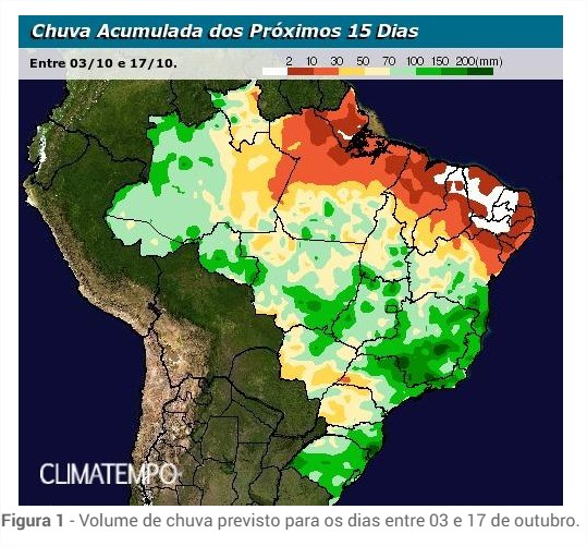 Chuvas previstas entre os dias 3 a 17 de outubro no Brasil - Fonte: Climatempo