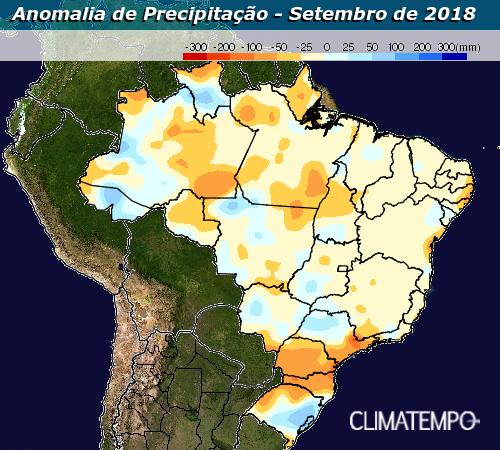 Mapa de anomalia de precipitação para o mês de setembro - Fonte: Climatempo