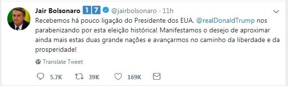 Tweet Bolsonaro sobre Trump
