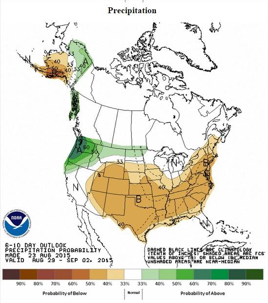 Chuvas previstas nos EUA entre os dias 29 de agosto a 2 de setembro - Fonte: NOAA
