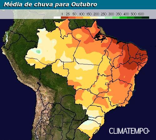 Média climatológica do acumulado de chuva para o mês de outubro