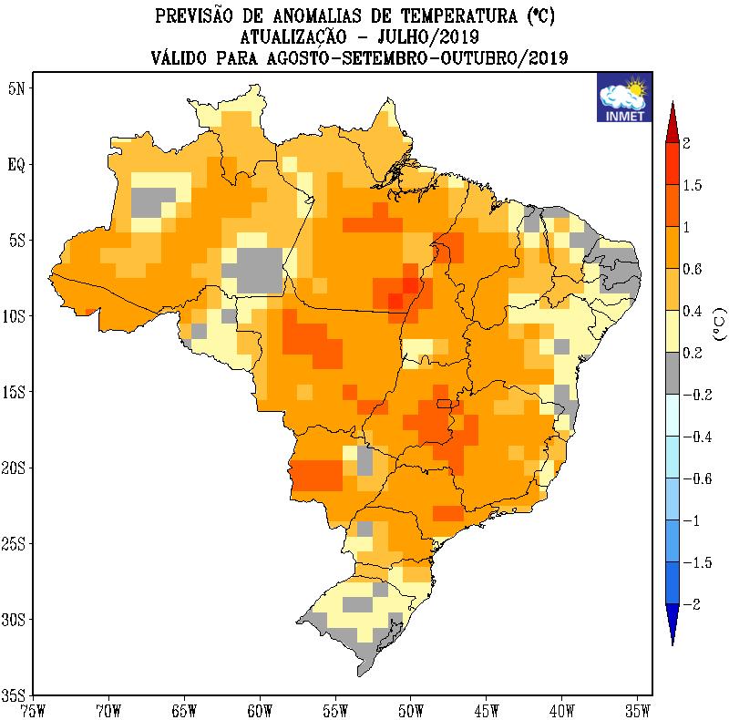 Mapa de previsão de anomalias de temperatura do Inmet para agosto, setembro e outubro - Fonte: Inmet