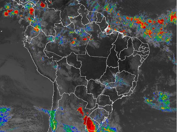 Imagem de satélite de todo o Brasil nesta quarta-feira (30) - Fonte: Inmet