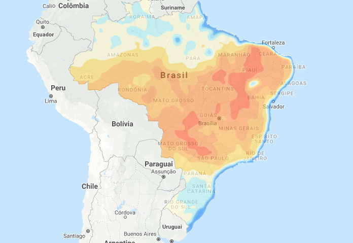 Mapa de água disponível no solo em todo o Brasil - Fonte: Climatempo