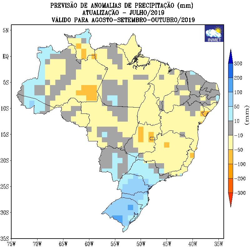 Mapa de previsão de anomalias de precipitação do Inmet para agosto, setembro e outubro - Fonte: Inmet
