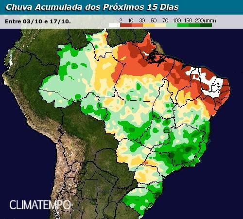 Mapa chuvas 03/10 a 17/10 - Climatempo