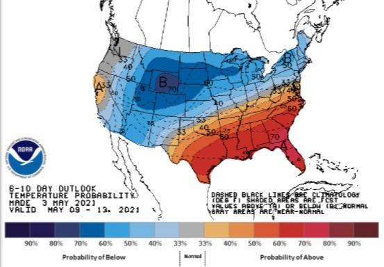 Clima nos EUA 9 a 13 de maio - Fonte: NOAA