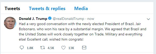 Tweet Trump Bolsonaro