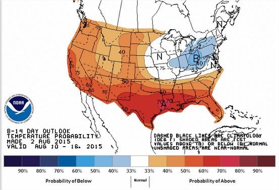 Projeção das Temperaturas para 10 a 16 de agosto nos EUA - Fonte: NOAA