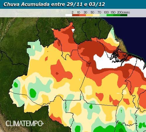 Previsão de chuvas acumuladas para o Brasil nos próximos dias - Fonte: Climatempo