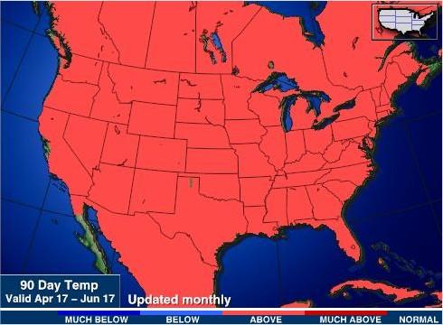 Temperaturas nos EUA - 90 dias