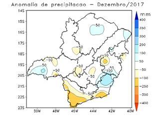 Anomalias das chuvas que ocorreram em dezembro de 2017. Fonte: SEÇÃO DE ANÁLISE E PREVISÃO DO TEMPO (SEPRE - 5º DISME) BELO HORIZONTE.