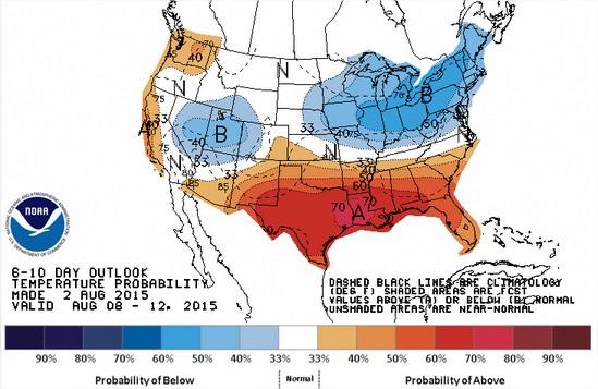 Projeção das Temperaturas para 8 a 12 de agosto nos EUA - Fonte: NOAA