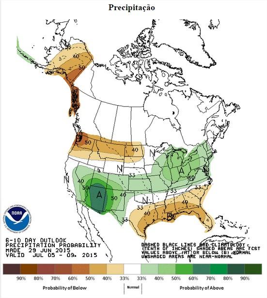 Chuvas nos EUA nos próximos 6 a 10 dias - Fonte: NOAA