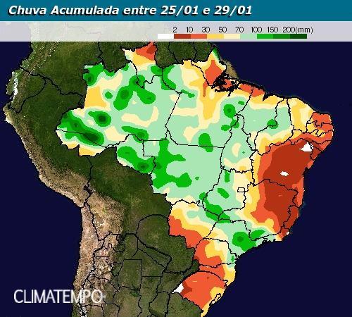 Mapa de Chuvas Climatempo - 25 a 29 de janeiro