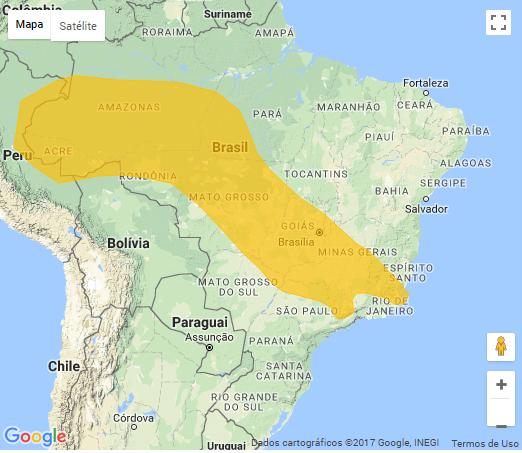 Mapa das áreas com área de ocorrência de aviso meteorológico nesta 2ª (20/11) - Fonte: CPTEC/Inpe