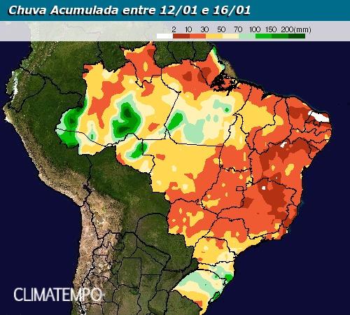 Chuva acumulada entre 12 e 16 de janeiro