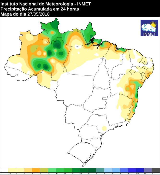 Mapa das áreas com precipitação acumulada nas últimas 24 horas - Fonte: Inmet