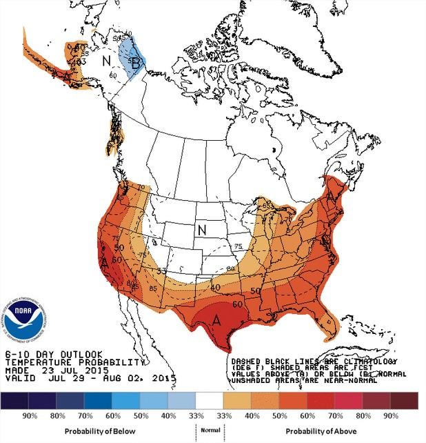 Temperaturas nos EUA entre os dias 29 de julho a 2 de agosto - Fonte: NOAA