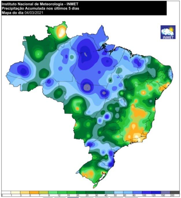 Mapa de acumulado de chuvas em 5 dias - 04.03.2021 - Fonte: Inmet