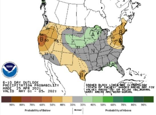 Chuvas EUA 1 a 5 de maio de 2021 - Fonte: NOAA