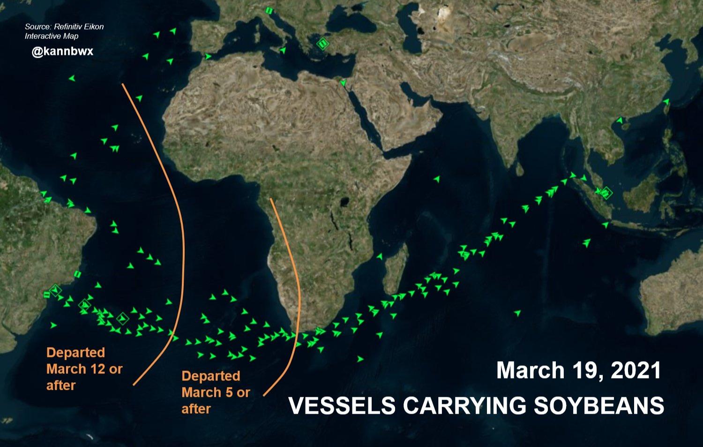Fluxo de navios com soja - 19 Março 2021