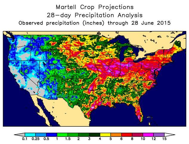EUA 2015 - Acumulado de chuvas até 28 de junho - Fonte: Pro Farmer