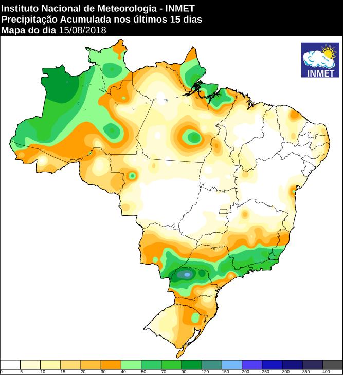 Mapa das áreas precipitação acumulada nos últimos 15 dias em todo o Brasil - Fonte: Inmet