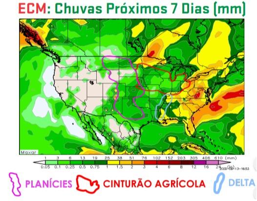 Chuvas EUA - 7 dias - ARC Mercosul