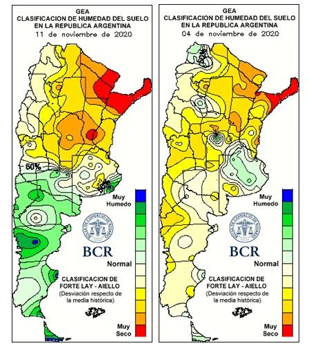 Mapas umidade do solo - Bolsa de Rosário - Argentina Novembro 2020