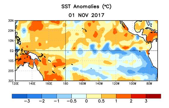 Temperaturas da superfície do mar no Oceano Pacífico, em comparação com a média. As áreas azuis são mais frias do que a média, enquanto as áreas laranja são mais quentes do que a média (Foto: The Climate Prediction Center/NOAA)