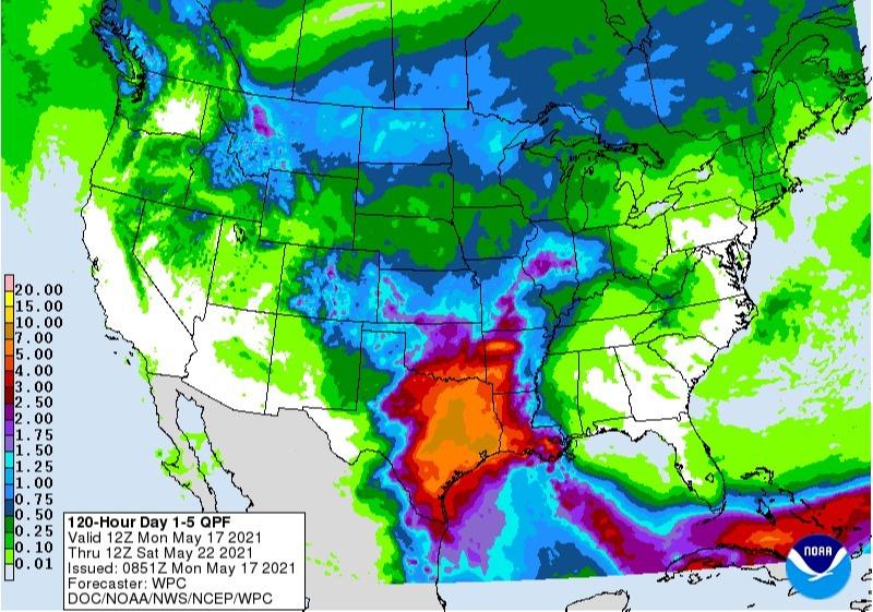 Chuvas EUA 5 dias - Fonte: NOAA