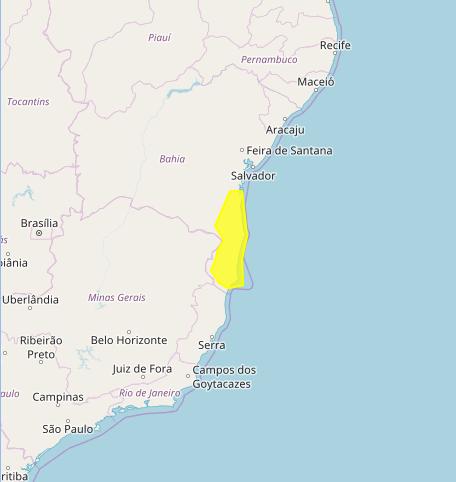Mapa das áreas com previsão de alto acumulado nesta 2ª feira - Fonte: Inmet