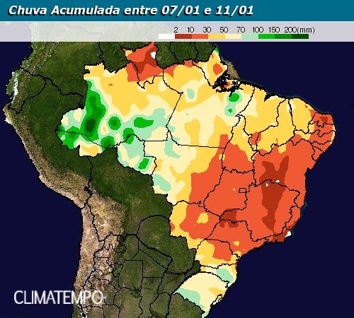 Chuva acumulada ente 7 e 11 de janeiro