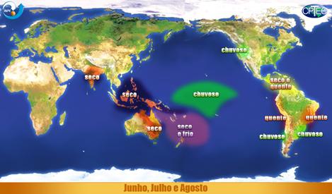 Efeitos do El Niño entre julho e agosto - Fonte: Cptec