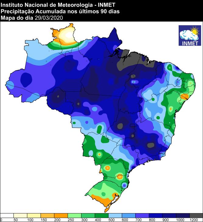 Chuvas útimos 90 dias - Inmet - 30/03