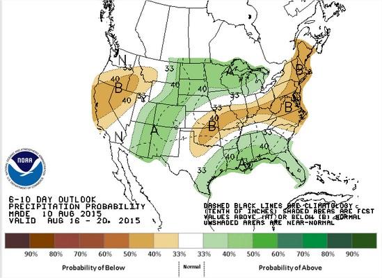 Previsão de chuvas nos EUA para 17 a 21 de agosto - Fonte: NOAA