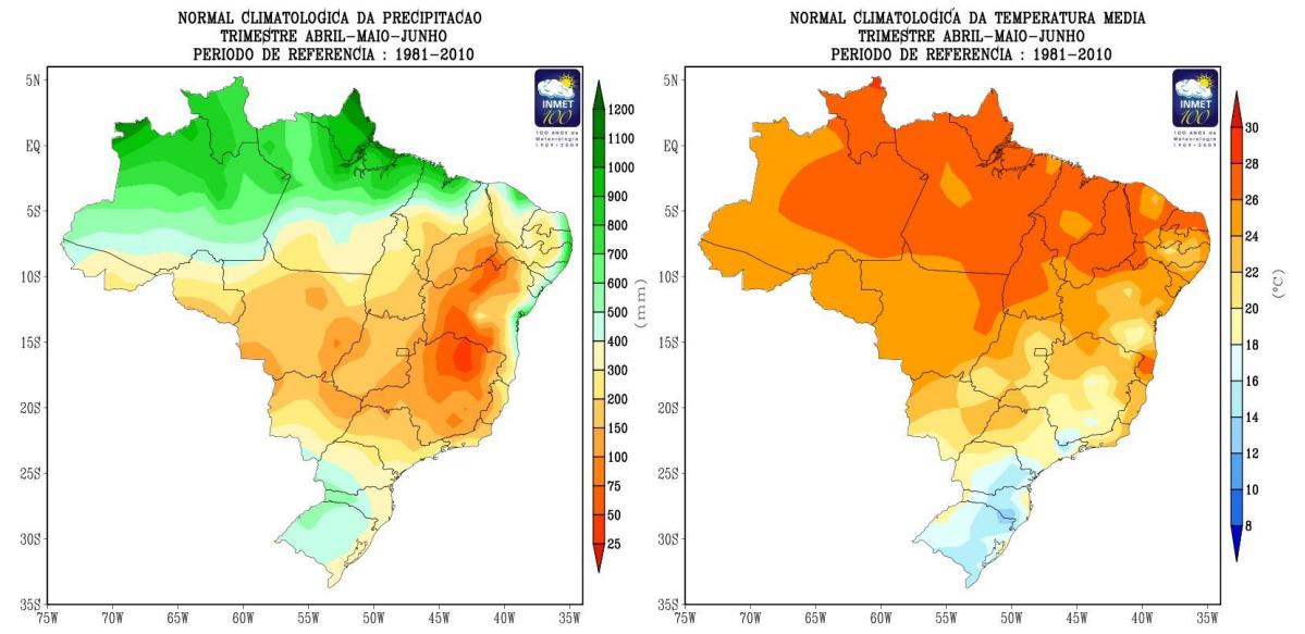12d73cecd429 Climatologia de temperatura média e precipitação para o trimestre abril,  maio e junho. Período