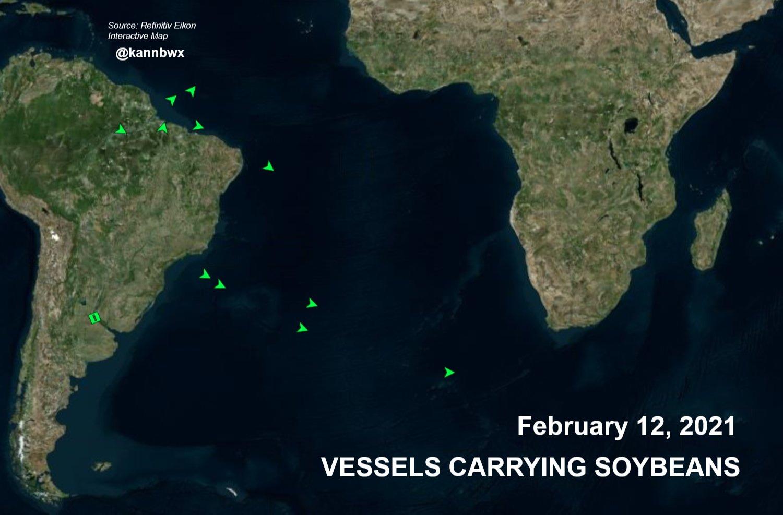 Fluxo de navios carregados com soja em trânsito do Brasil para China - Fontes: Refinitiv Eikon e Karen Braun