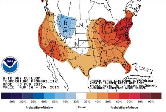 Previsão das temperaturas nos EUA para 17 a 21 de agosto - Fonte: NOAA