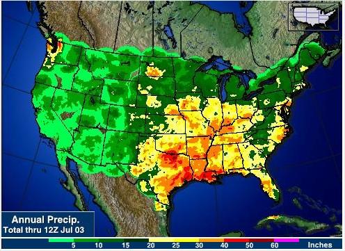 Acumulado de Chuvas nos EUA desde o início de 2015 - Fontes: NOAA + AgWeb