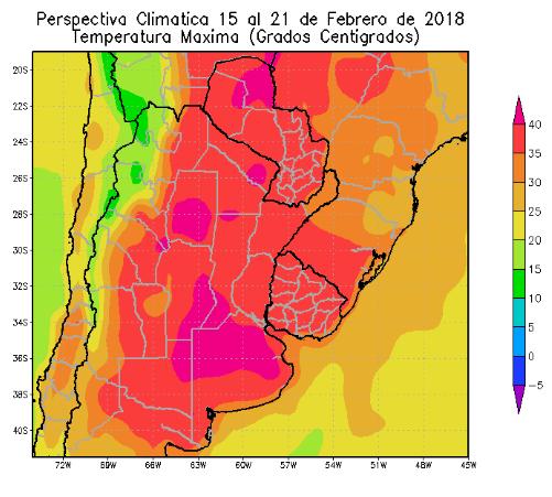 Perspectiva Agroclimática da Argentina 15-21 Fevereiro - Temperatura