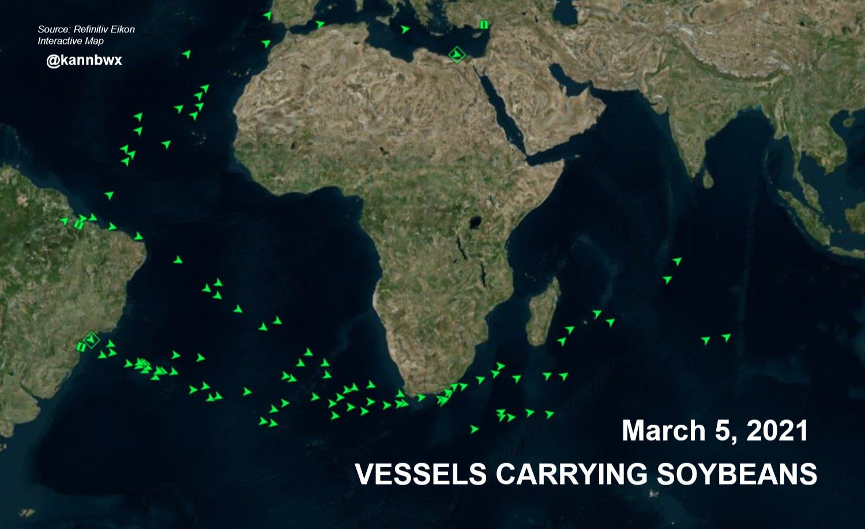 Fluxo de navios com soja - 5 Março 2021