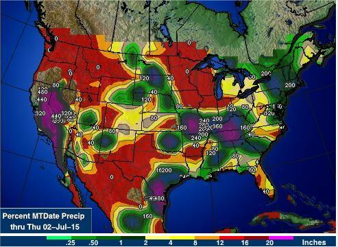 Acumulado de Chuvas nos EUA nos últimos 30 dias - Fontes: NOAA+AgWeb