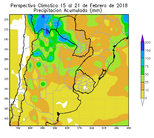 Perspectiva Agroclimática da Argentina 15-21 Fevereiro - Chuvas