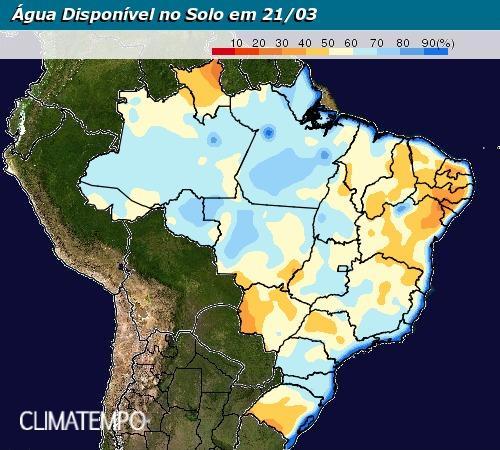 Mapa de água disponível no solo em todo o Brasil até 21 de março - Fonte: Climatempo