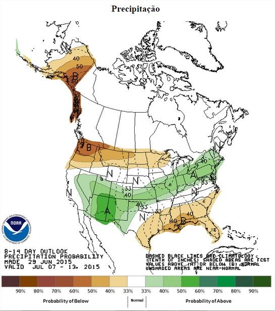 Chuvas nos EUA nos próximos 8 a 14 dias - Fonte: NOAA
